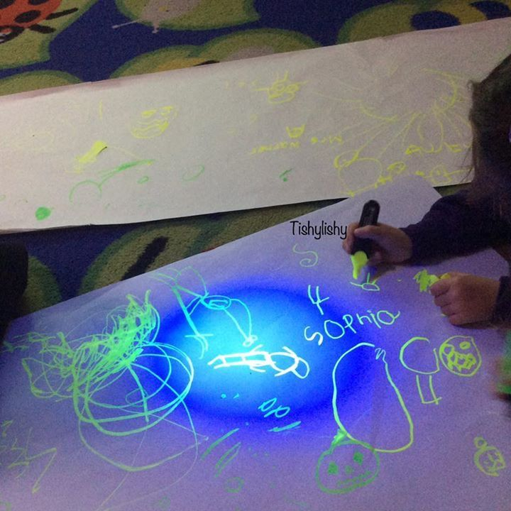 Magic mark making. Highlighters and a uv light