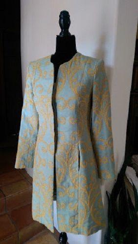 J. McLaughlin Damask Size 2 Mint Green & Golden Yellow Long Coat  #JMcLaughlin #BasicCoat