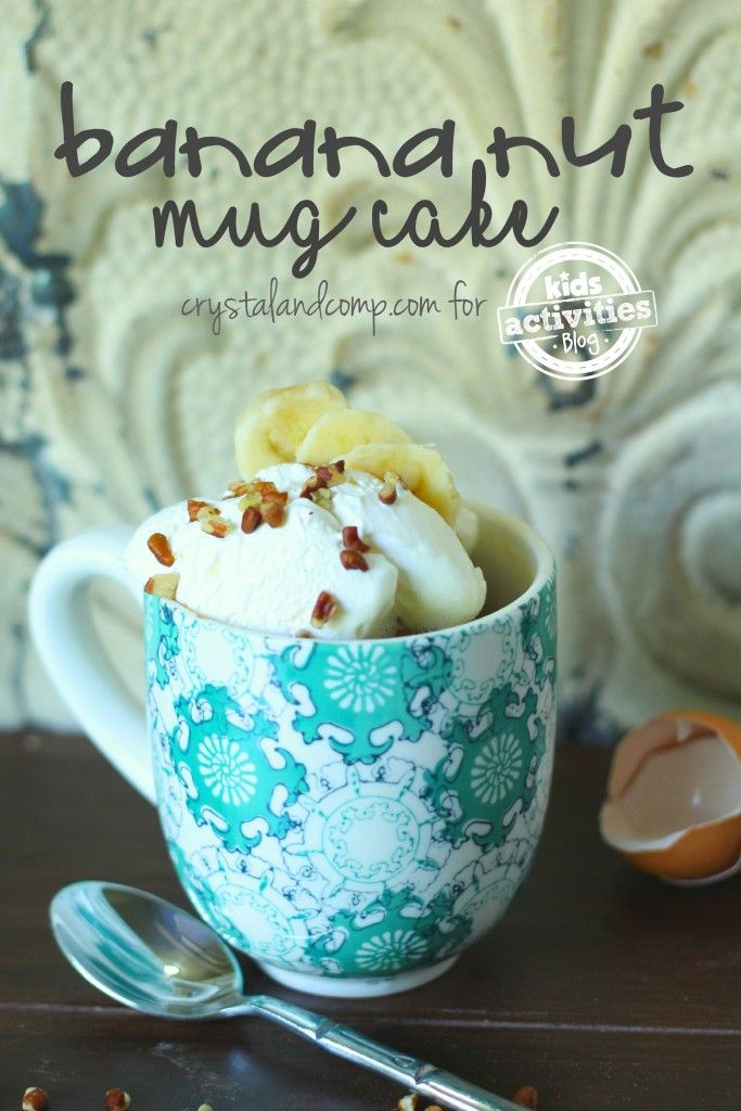banana nut mug cake made in the microwave in three minutes