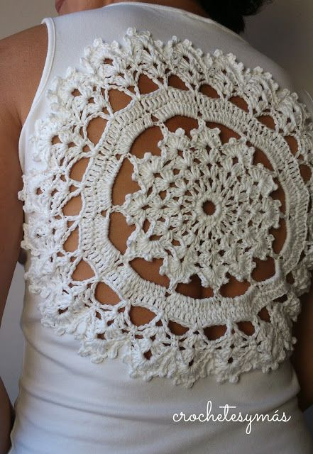 Doily - I've done this with a long sleeve shirt and put doilies on the shoulders but this is cute for warmer temps