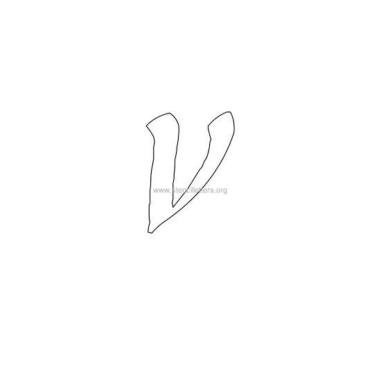 Lowercase Calligraphy Wall Stencil Letter V Sign Design