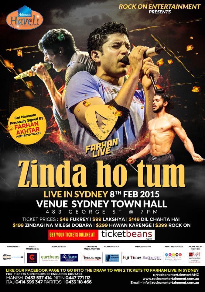 Farhan Akhtar Live Zinda Ho Tum Tour on February 8th 2015 in Sydney. Actor, director, producer, screenwriter, lyricist and playback singer. - SLSE India