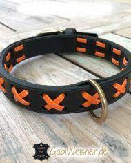 Hundehalsband Leder und Lack