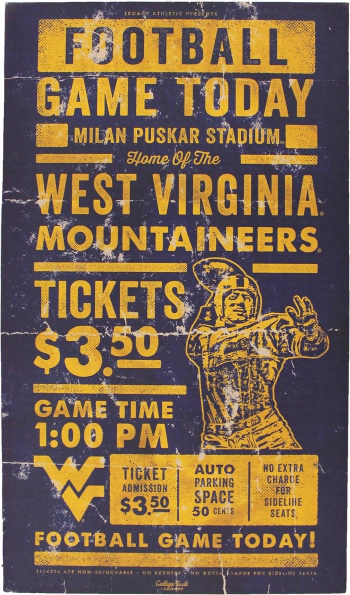 Vintage wv football sign. Wv Sports theme basement