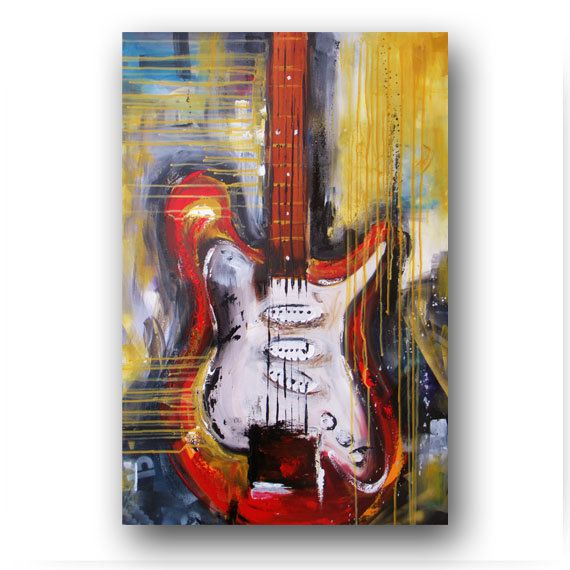 Guitar Painting Abstract Painting Large by heatherdaypaintings, $300.00