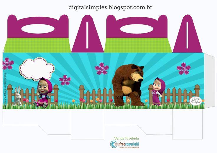 Kit Festa Aniversário Masha e o Urso - Convites Digitais Simples