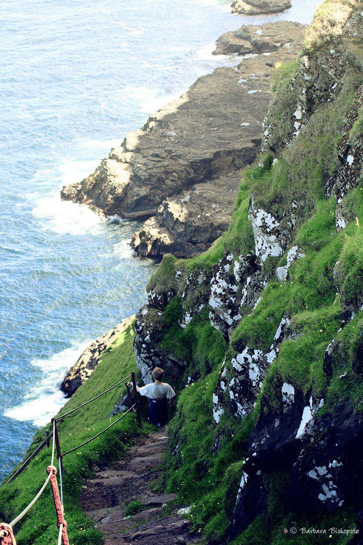 A stairway down the mountain side in Mykines, Faroe Islands