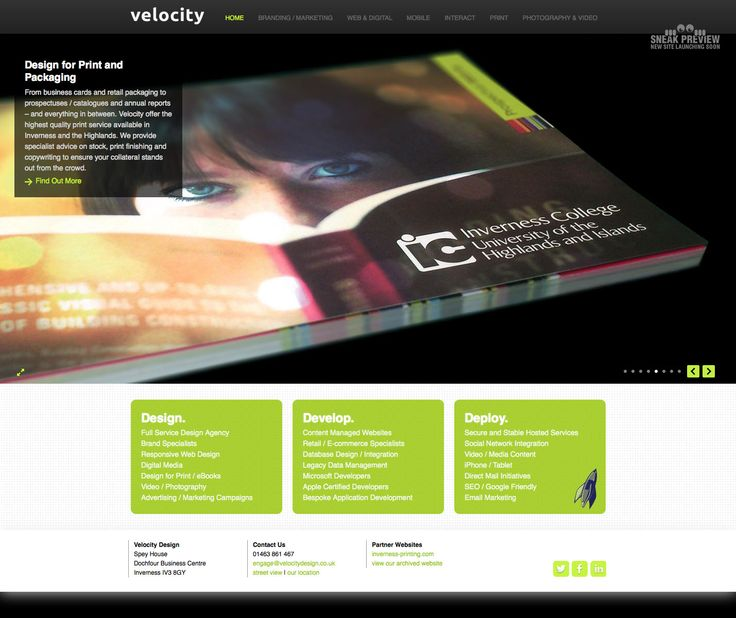 Our website – Shows Inverness College Prospectus (which we designed)