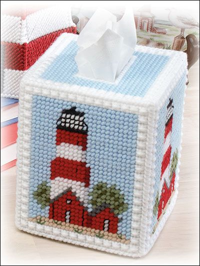 Lighthouse Tissue Cover Plastic Canvas Pattern Download from e-PatternsCentral.com -- Stitch this lighthouse tissue topper to add to your nautical decor.