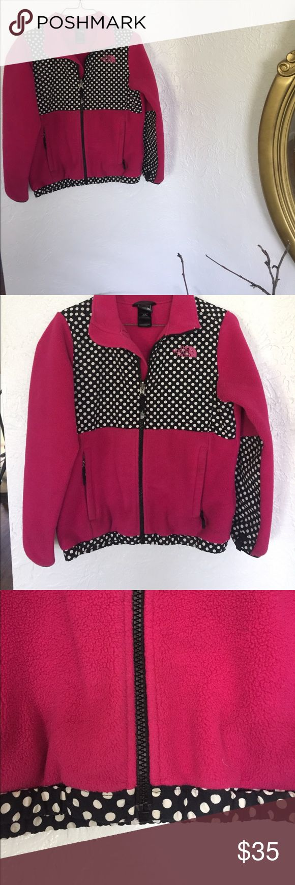 Girl's North Face jacket. It is a pink colored sweatshirt that zips up and it does not have a hood but it is very very cute and cozy! Girl's size 10/12 (M) The North Face Shirts & Tops Sweatshirts & Hoodies