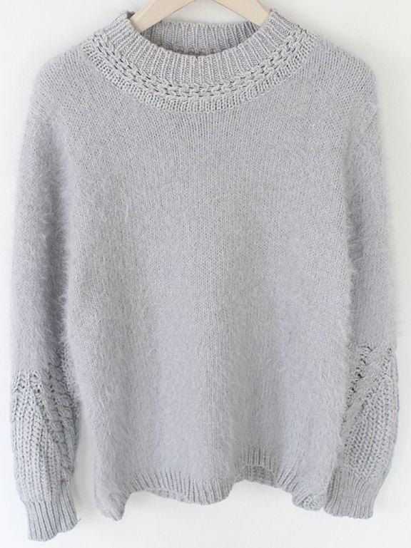 Grey Round Neck Long Sleeve Vintage Knit Sweater