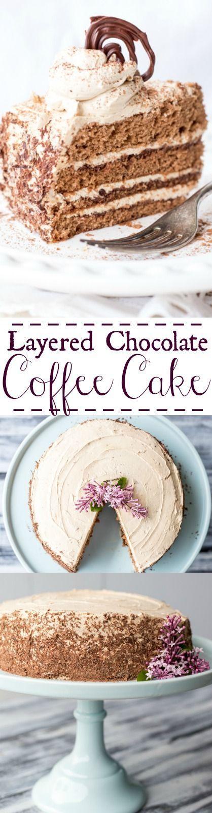 Layered Chocolate Coffee Cake. http://ValentinasCorner.com