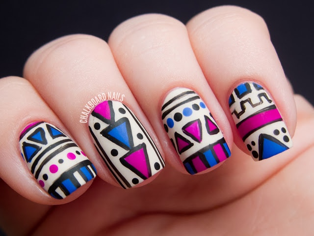 Chalkboard Nails: Fuchsia and Cobalt Tribal (Matte vs. Glossy)