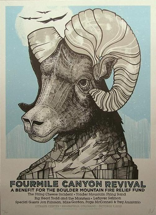 Original silkscreen poster for The Fourmile Canyon Revival Benefit Show featuring Phish, String Cheese Incident, Leftover Salmon, Yonder Mountain, and Big Head Todd and the Monsters from First Bank Center in Broomfield, CO in 2010.