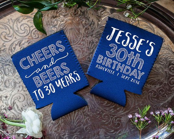 Neoprene Birthday Cheers and Beers Any Birthday Year 30th Birthday Neoprene Birthday Any Year Birthday Favors Birthday Party 1656 by SipHipHooray