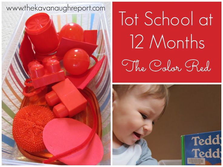 Tot School -- Color Red Week. Activities at 12 months old.