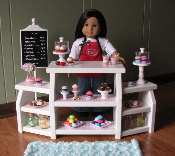 "Deluxe Bakery Display Case - Sweet Shop Cafe / Bakery Set for American Girl / 18"" dolls - MAY SHIPPING"