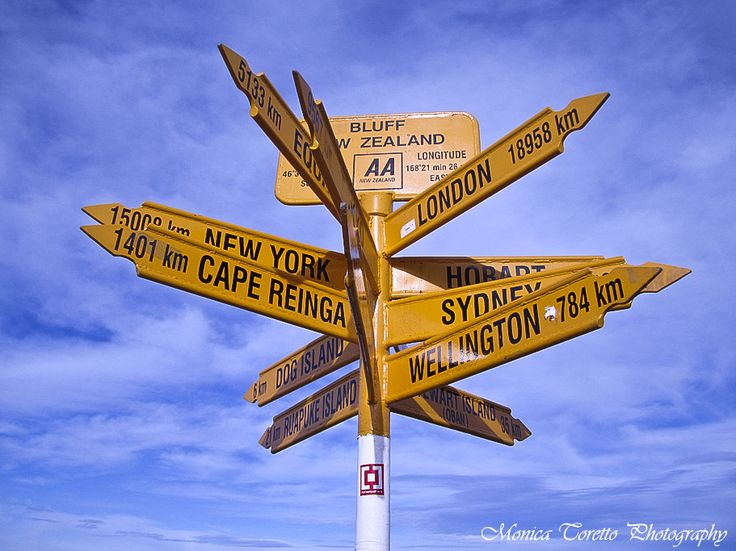 The world famous signs at Stirling Point in Bluff.