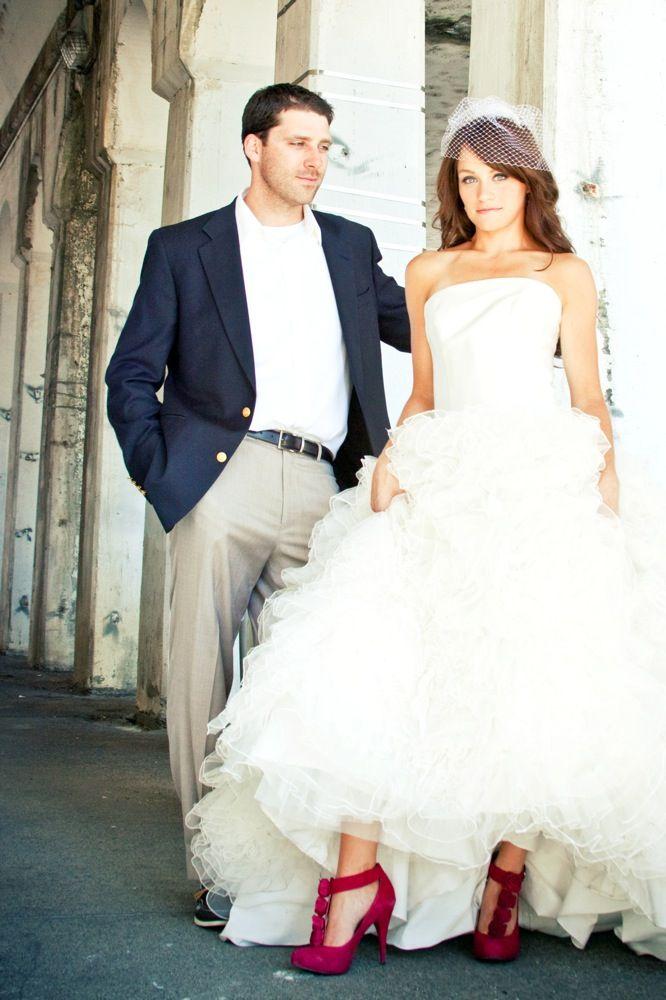 Beautiful Dress Red Heels Wedding Photo