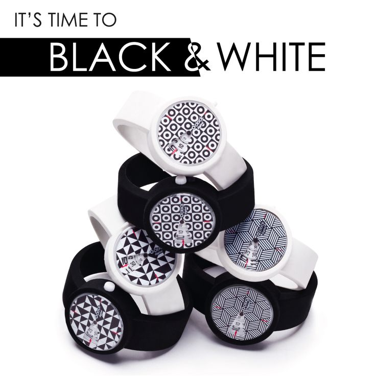 Bianco e nero: effetto optical! Positivo e negativo in geometrie bicolor a contrasto. Una tendenza colore senza tempo che delinea grafismi optical per O clock.   Un gioco di luci e di forme per un look minimal e essential. It's time to BLACK & WHITE