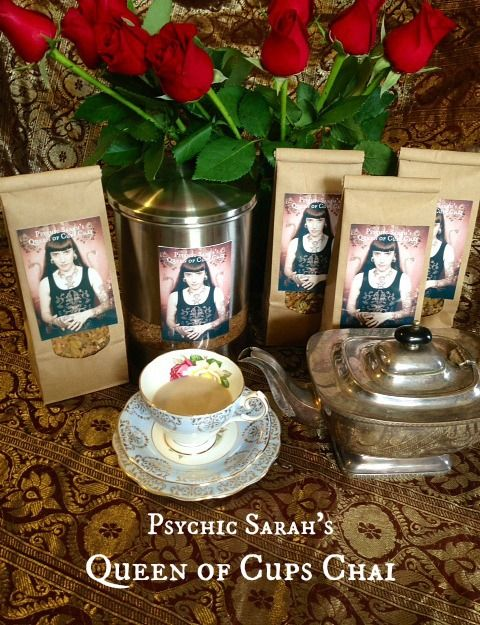 Psychic Sarah's Queen of Cups Chai now for sale at Suzy Spoon's Vegetarian Butcher! :-)