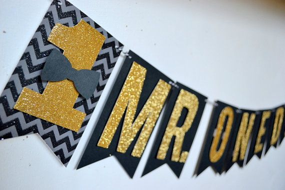 Mr. Onederful Boys 1st Birthday bowtie Banner Black and gold