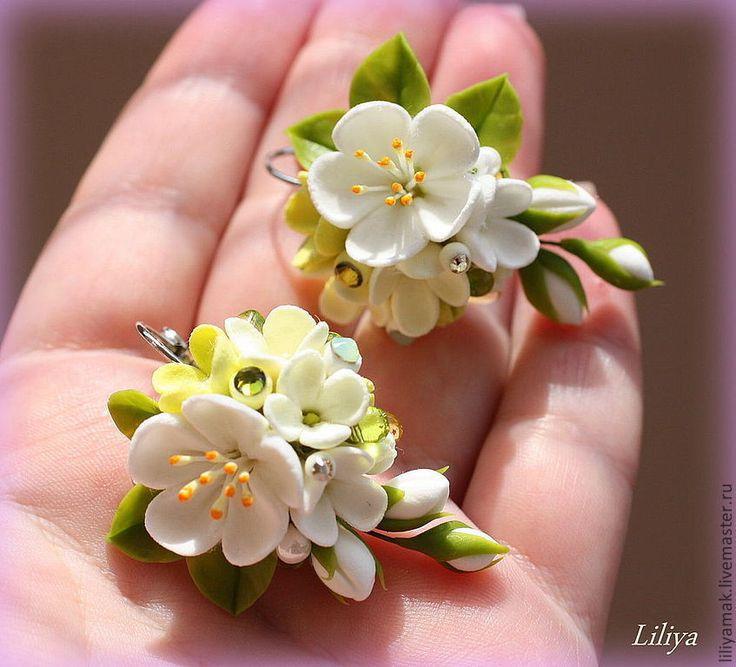 """Купить Серьги """"Яблоня в цвету"""" - серьги с цветами, серьги ручной работы, цветы ручной работы"""