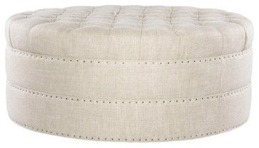 Round Button Tufted Ottoman eclectic ottomans and cubes