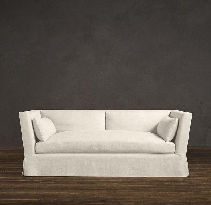 Belgian shelter arm slipcovered sofas sofas for Restoration hardware living room furniture