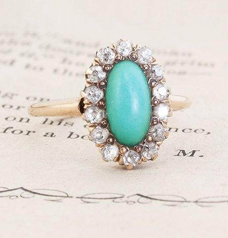 Victorian Turquoise and Diamond Cluster Ring, $1,250.00