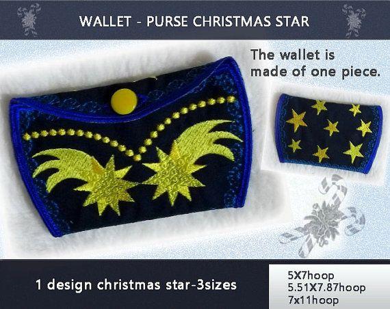 Purse - Wallet - Christmas star No.229 - 5X7hoop,5.51X7.87hoop,7X11hoop- - Machine embroidery digitization./INSTANT DOWNLOAD