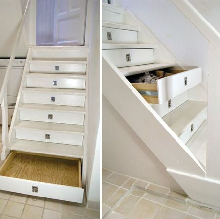 """Storage drawers in stair risers.  Since we're going to have to rework our stairs when we remove carpet and have hardwood installed, I might look at doing this.  I wouldn't want such obvious pulls; perhaps heavy duty """"push"""" spring-loaded openers.  Thinking..."""
