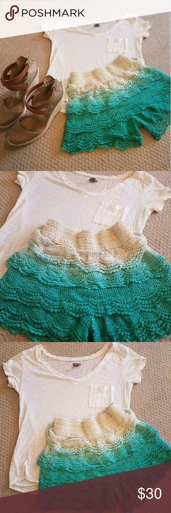 ☉Summer skort outfit☉ T-shirt by Aerie and ombre crochet teal shorts by Blue island. Shoes not included. Stretchy material aerie Other