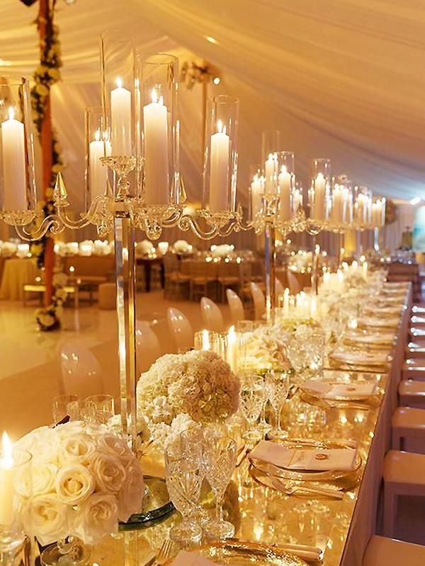36 Tall 4 Arm Premium Crystal Glass Candle Holder Hamptons Wedding Wedding Centerpieces Wedding Table