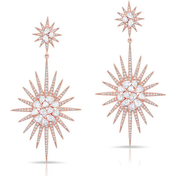 Anne Sisteron  14KT Rose Gold Diamond Double Fireburst Drop Earrings ($7,480) ❤ liked on Polyvore featuring jewelry, earrings, rose, rose gold earrings, drop earrings, pink gold earrings, diamond jewellery and red gold jewelry