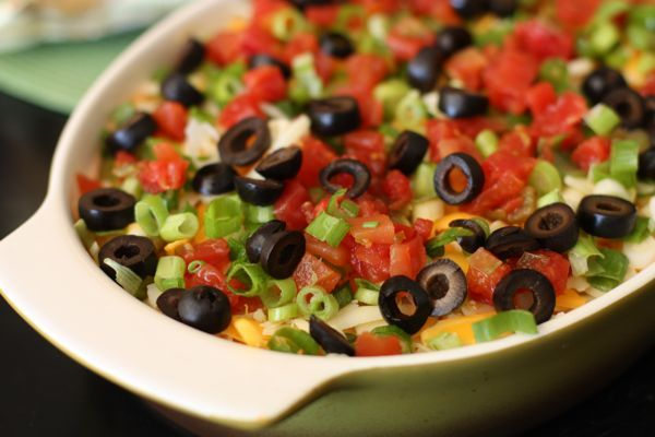 The ROTEL 7-layer dip has never looked so tasty! @Aggie's Kitchen sometimes even adds an 8th or 9th layer!