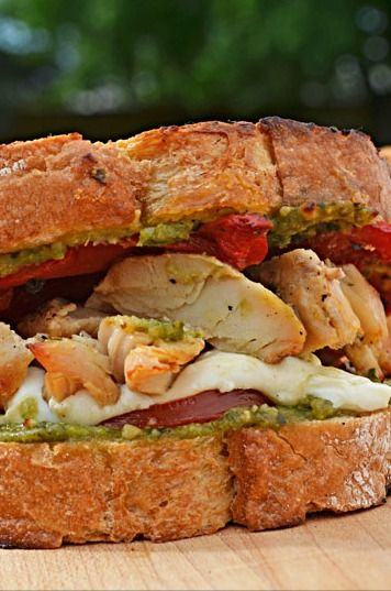 Summery pesto, flavorful grilled chicken, roasted red peppers, gooey ...