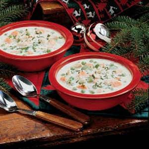 Creamy Turkey Soup Recipe - I didn't have the savory or thyme it called for, so I used oregano.  I also added minute rice instead of the peas at the end.  This was soooo delicious!  I will def. be making this again!