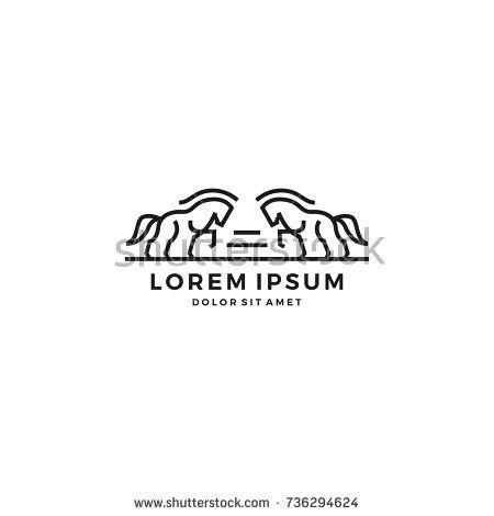 Standing Horse Crest Shield Line Art Outline Logo Vector Template
