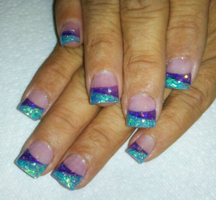 Acrylic nails.. Purple and teal