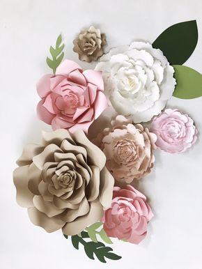 Paper Flower Wall Decor, large paper flower backdrop, giant paper flower, paper flower backdrop, champagne wedding color, paper flower decor by PaperFlora on Etsy https://www.etsy.com/listing/498485528/paper-flower-wall-decor-large-paper