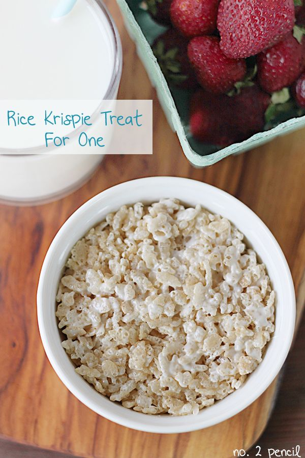 Microwave Rice Krispie Treat for One. Great idea when you just want one serving by No. 2 Pencil for Tatertots and Jello