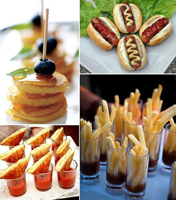 Fry shooters, grilled cheese wedges & tomato soup shots, mini pancakes on a stick, cute finger foods!