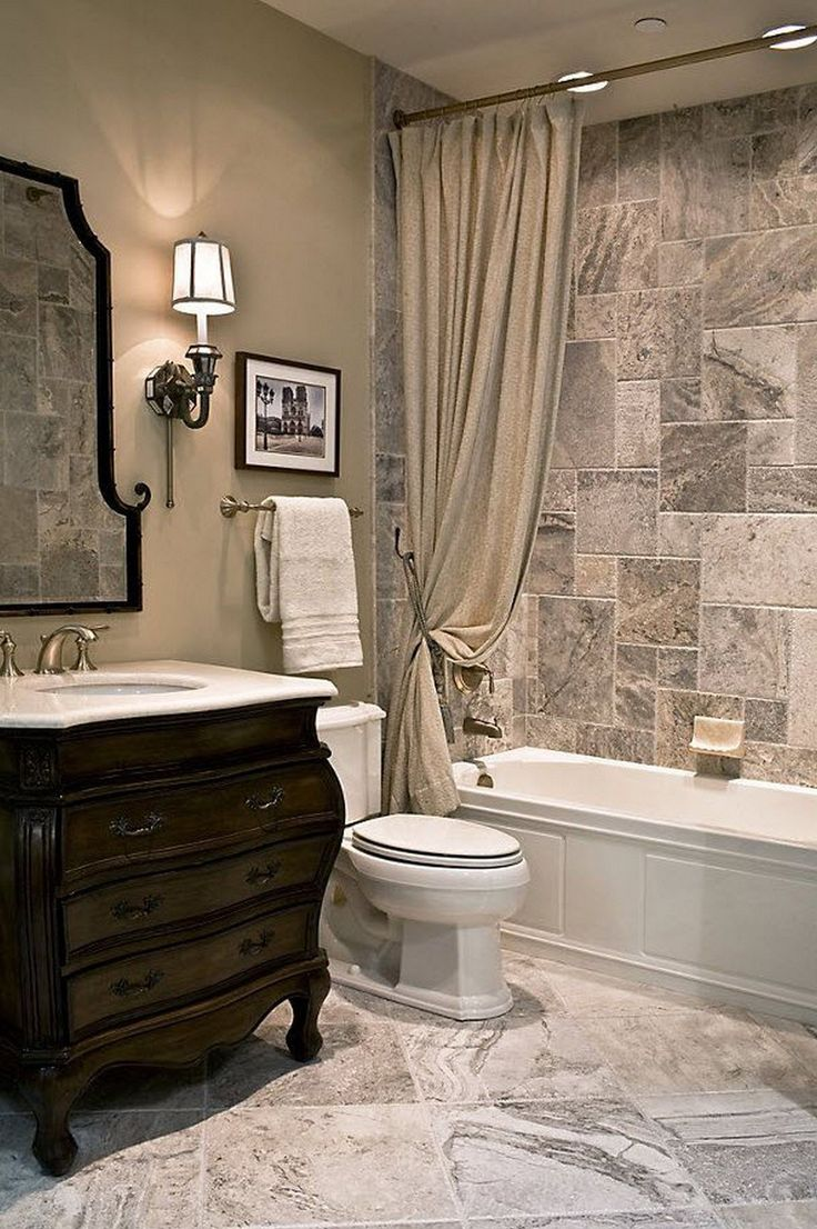 Laying tiles diagonally in a herringbone fashion integrates the tiles - 99 New Trends Bathroom Tile Design Inspiration 2017 72