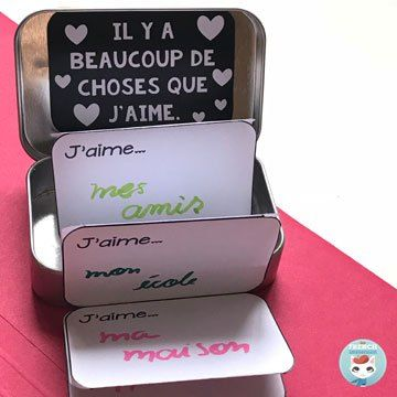 French Valentine's Day Free Resources: links to tons of amazing freebies for your French classroom! (picture: mint tin paper craft) #lasaintvalentin #frenchimmersion #corefrench #teachingfrench #frenchteachers #forfrenchimmersion