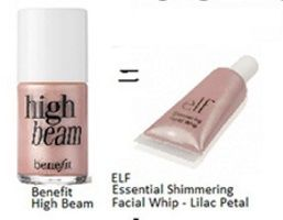 DUPE -- Benefit High Beam == ELF Essential Shimmering Facial Whip Lilac Petal