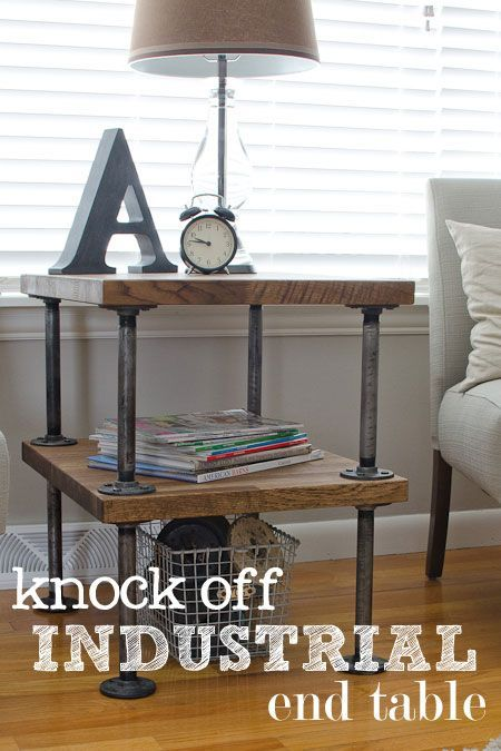 MAKE - gal pipe and timber slabs, Knock Off Industrial Side Table or living room table