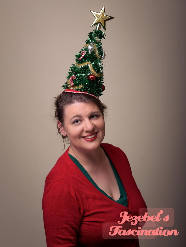 Oh Christmas Tree-Ugly Christmas Sweater Fascinator Decorated with Ornaments Candy Canes Garland Gold Star and Holiday Red Skirt Lights UP - pinned by pin4etsy.com