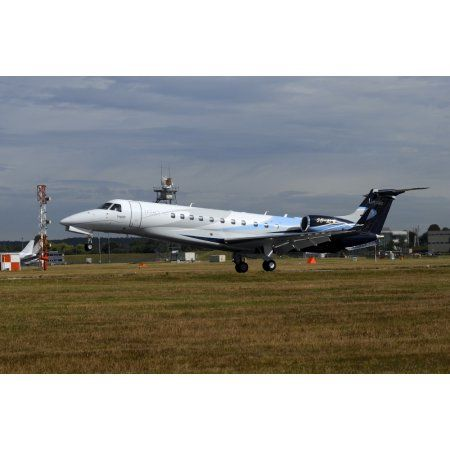 The Embraer Legacy 500 at Farnborough Airport England Canvas Art - Riccardo NiccoliStocktrek Images (34 x 23)