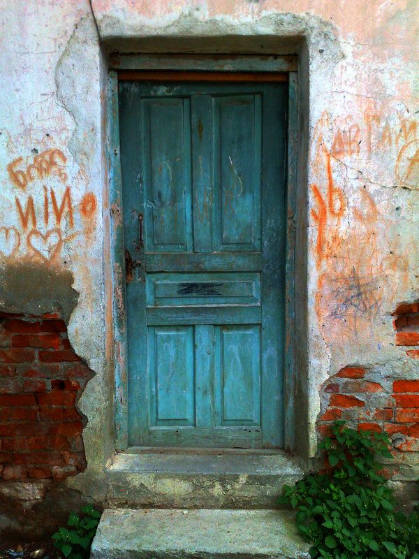blue door somewhere in Georgia, possibly Tbilisi
